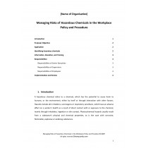 Managing Risks of Hazardous Chemicals in the Workplace Policy and Procedure